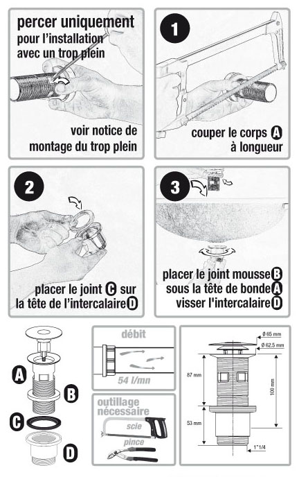 schema montage bonde lavabo