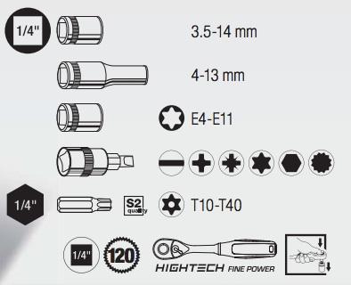 kraftwerktools 4007/ /cl/és de douilles HIGHTECH 1//4/
